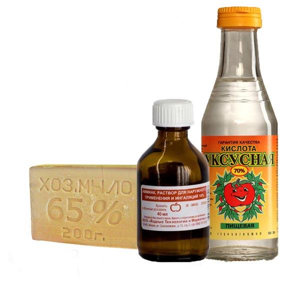 Народные средства: мыло, нашатырь, уксус