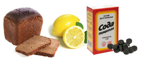 черный хлеб лимон сода уголь