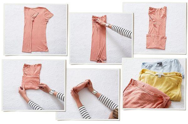 Процесс складывания футболки