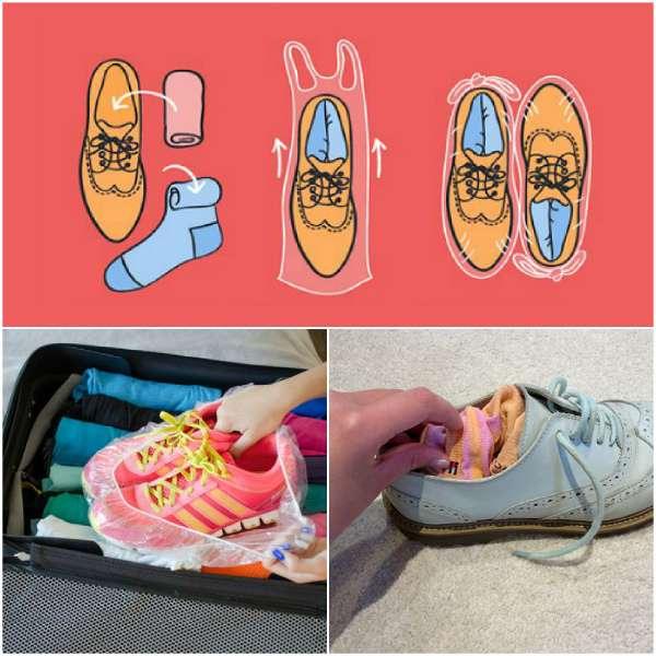 Процесс упаковывания обуви
