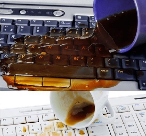 Пролитая жидкость на клавиатуре