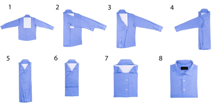 Процесс складывания рубашки