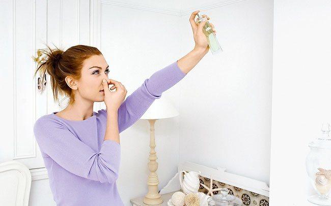 Разбрызгивание освежителя в комнате