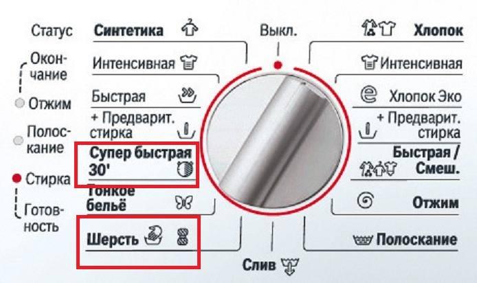 Режимы для стирки шерстяных изделий